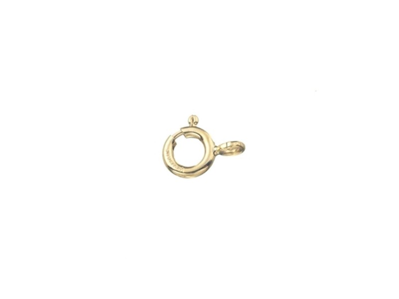 9K Yellow Gold Bolt Ring Clasp 5mm w/ closed jump ring