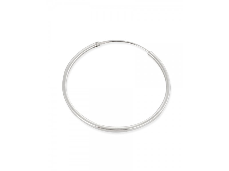 Sterling Silver 925 Round Hoop Earring 50mm, thickness 1.3mm