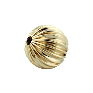 15% OFF  - 9K Yellow Gold, Corrugated Bead 11mm