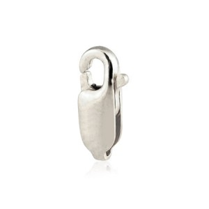18K WHITE GOLD LOBSTER CLASP 10.1mm  (w/out ring), SUPER LIGHT, RHOD. PLATE NICKEL FREE  0018LCL1WSN