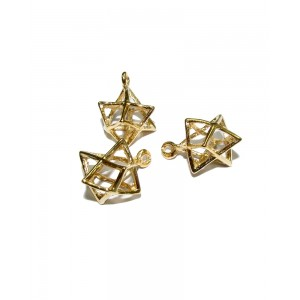 5% 14K Gold Plated Brass 3D Star of David Charm Gold Plated Charms, Pendants