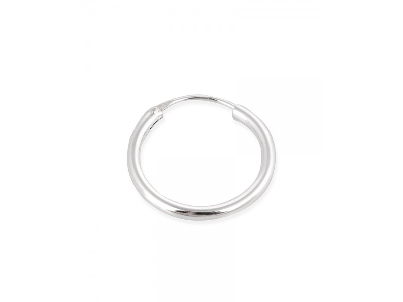 Sterling Silver 925 Round Hoop Earring 24mm, thickness 1.3mm