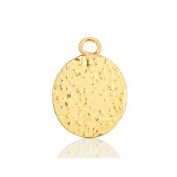 Gold Filled Oval Textured Disc, 9 x 11mm