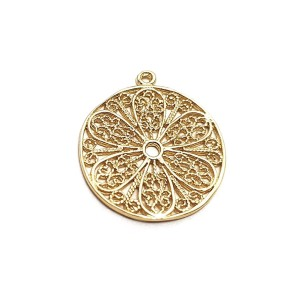5% 14K GOLD PLATED CIRCULAR FILIGREE FLOWER CHARM W/RING 4.7 X 1MM