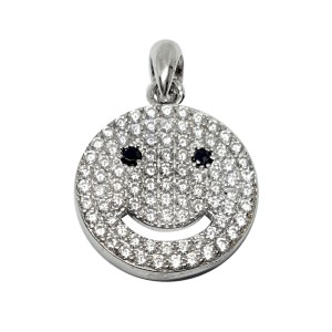Sterling silver 925 CZ-SET smiley pendant with bail 13mm