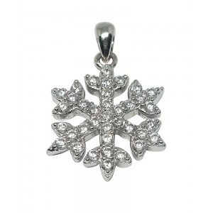 Sterling Silver 925 CZ Pave Snowflake Pendant 15mm