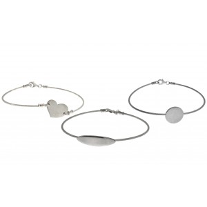 Sterling Silver 925 READYMADE CABLE BRACELET 18CM - Various Shapes