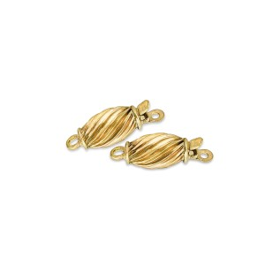 9K YELLOW GOLD TWISTED CORRUGATED CLASP