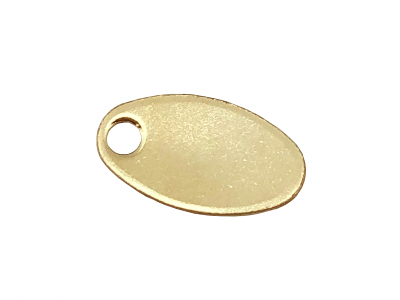 GOLD FILLED OVAL CHAIN TAG w/HOLE (9X14mm)