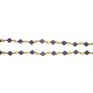 Sterling Silver 925 Gold Plated Wire Wrapped Chain with Amethyst Faceted Beads