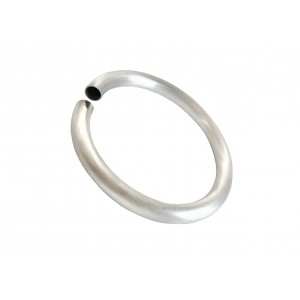 SILVER 925 SEMI MANUFACTURED HOLLOW BANGLE (SPIRAL TUBING), ROUND 8mm, COIL I/D 63mm  (HARD)