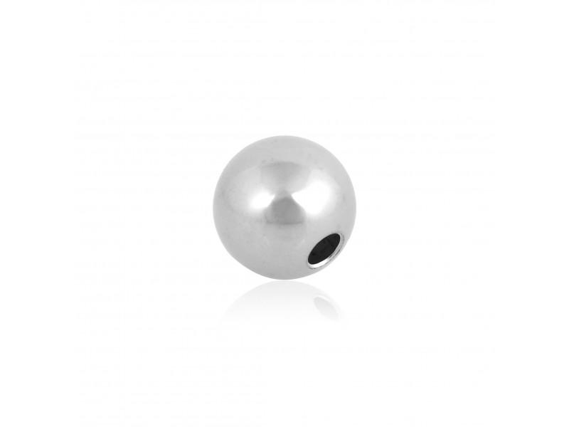 9K White Gold Round Bead 2 hole Bead, 3mm, Rhodium Plated