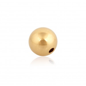 9K Yellow Gold 2 hole Round Bead 7mm