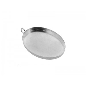 Sterling Silver 925 Oval Bezel cup with jump ring 30x40mm