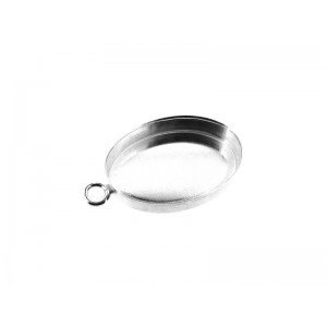 Sterling Silver 925 Oval Bezel cup with jump ring 13 x 18mm Silver Oval Bezel Cups
