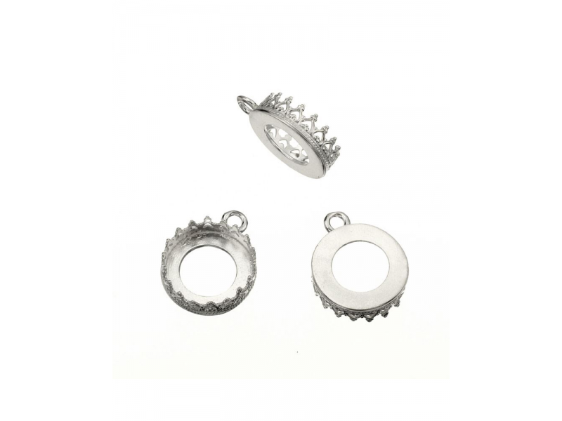 Sterling Silver 925 Decorative Bezel Cup 12mm Round with 1 ring Round Decorative Bezel Cups