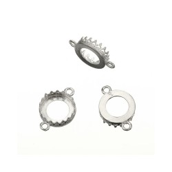 Sterling Silver 925 Decorative Bezel Cup Round 16mm with 2 rings
