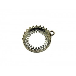 Sterling Silver 925 Round Bezel Cup 16mm with ring, gallery 714H