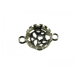 Sterling Silver 925 Bezel Cup 10mm with 2 rings, gallery wire 763H + 3331 Round Decorative Bezel Cups