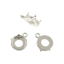 Sterling Silver 925 Decorative Bezel Cup Round 8mm with 1 ring