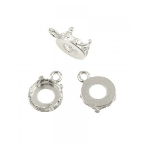 Sterling Silver 925 Decorative Bezel Cup Round 14mm with 1 ring