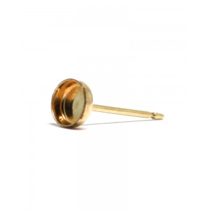 Gold Filled Ear Post with the Bezel Cup 6mm Gold Filled Ear Posts