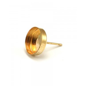Gold Filled Ear Post with the Bezel Cup 10mm