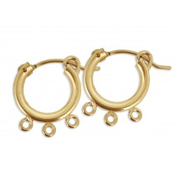 YELLOW GOLD FILLED CREOLE LEVER HOOP EARRING 13mm W/3 RING 17.5 X 15.5 X 2.3MM