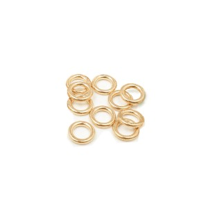 PACK OF 12K G.F YELLOW SOLDERED JUMP RINGS  (1.0 mm/5.0 mm ext)