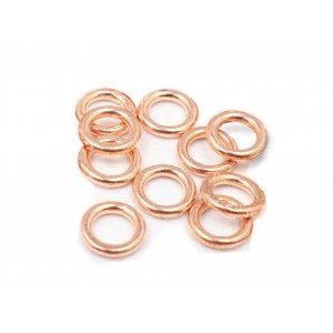 RED GOLD FILLED SOLDERED JUMP RINGS 1X7 MM (O/DIA) PACK OF 10PC