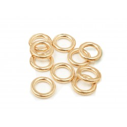 PACK OF 12K G.F YELLOW SOLDERED JUMP RINGS  (1.2 mm/7 mm ext)