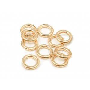 PACK OF 10, 12K G.F YELLOW SOLDERED JUMP RINGS  (1.0 mm /6.0 mm ext)
