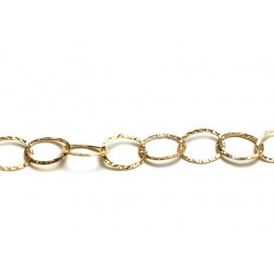 Gold Filled Hammered Flat Oval Links Chain, 14 x 19 mm