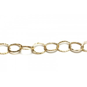 Gold Filled Hammered Flat Oval Links Chain, 14 x 19 mm Gold Filled Fancy Chain