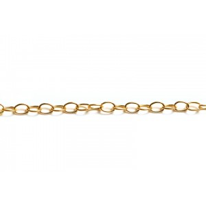 Gold Filled Round Wire Oval Links Cable Chain, 3.3 x 5 mm, 0.5 mm wire
