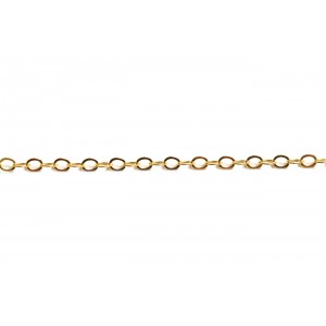 Gold Filled Flat Wire Oval Link Cable Chain, 3.5 x 2.6 mm