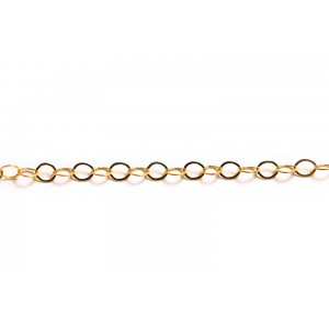 Gold Filled Flat Round Links Cable Chain, 3.8 mm