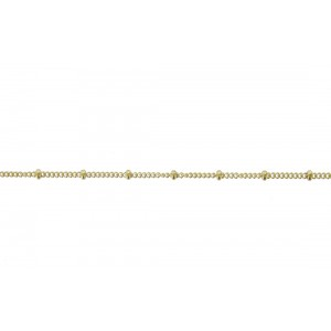 Gold Filled Ball and Curb Chain, 1.1 mm, 2 mm bead