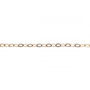 Gold Filled Flat Oval Link Chain, Red, 2.8 x 4 mm Gold Filled Trace Chain