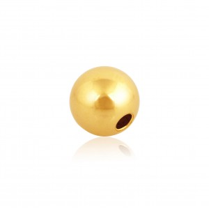 18K Yellow Gold Round 2-holes Bead 8mm