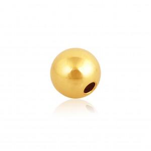 18K Yellow Gold Round 2-holes Bead 8mm