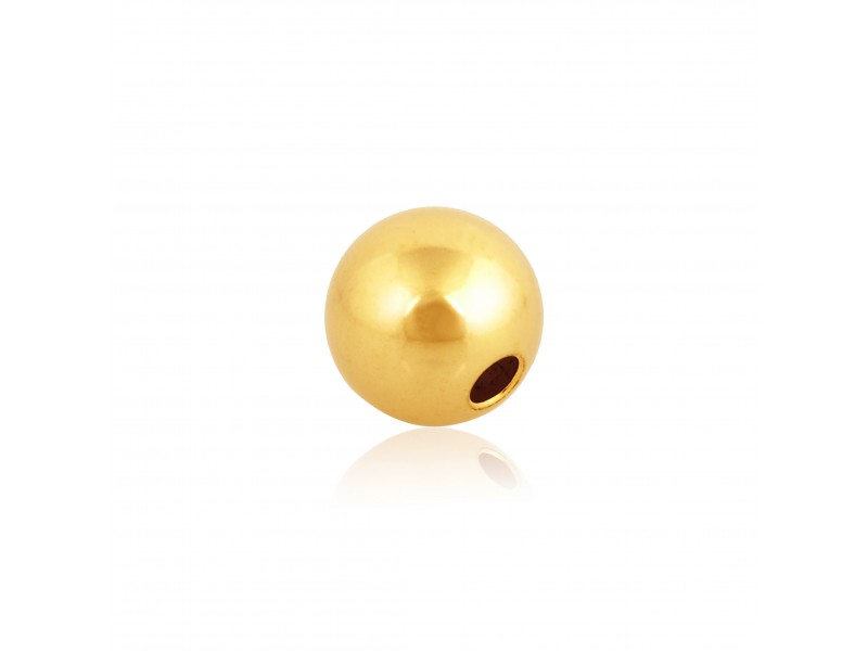 9K Yellow Gold 1 Hole Round Bead 6mm