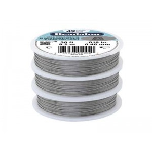 49 Strand Stainless Steel Bead Stringing Wire, .013 in (0.33 mm), Bright, 100 ft (31 m)