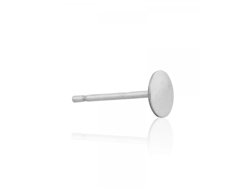 Sterling Silver 925 Ear Post with Disc 6mm