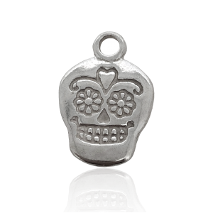 Sterling Silver 925 EMBOSSED SKULL CHARM W/RING  16 X 11 X 1.6MM