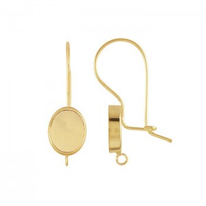 Gold Filled Kidney Wire Earring with Oval Bezel 8mm x 10mm