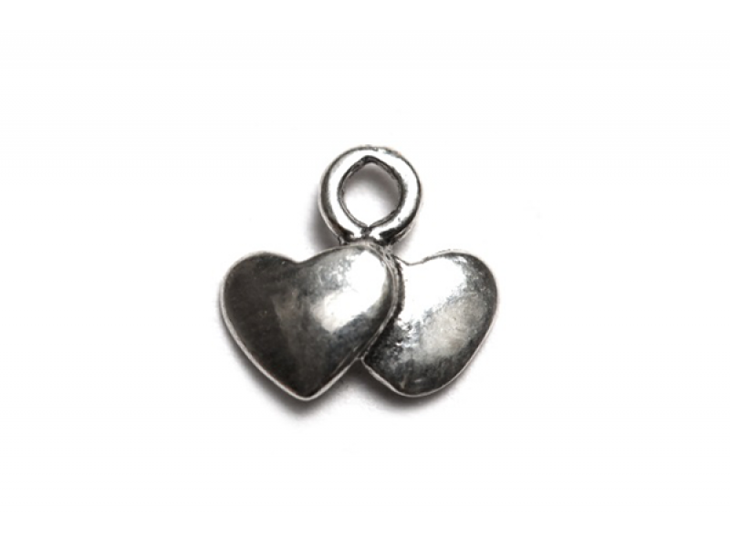 Sterling Silver 925 2 Hearts Charm Silver Hearts & Feelings