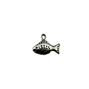 Sterling Silver 925 Fish Charm 5.25mm x 10.7mm, ring 2.1mm