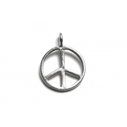 Sterling Silver 925 Peace Sign Charm