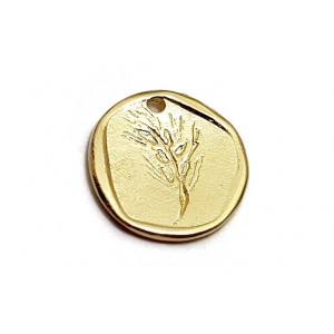5% 14K DEEP GOLD PLATE ROUND  WAX SEAL W/TREE BRANCH  16 X 1.4MM